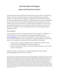 Appeal Form - Save Our Home Az Program - Arizona