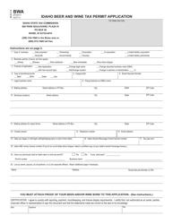 Form BWA Idaho Beer and Wine Tax Permit Application - Idaho