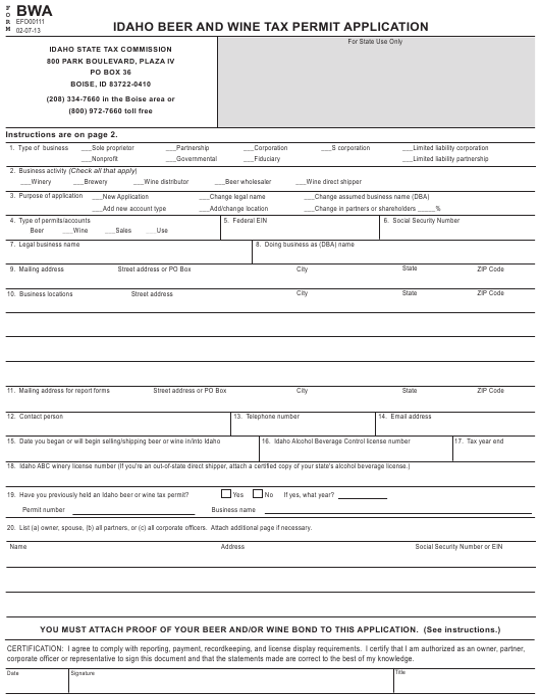 Form BWA  Printable Pdf