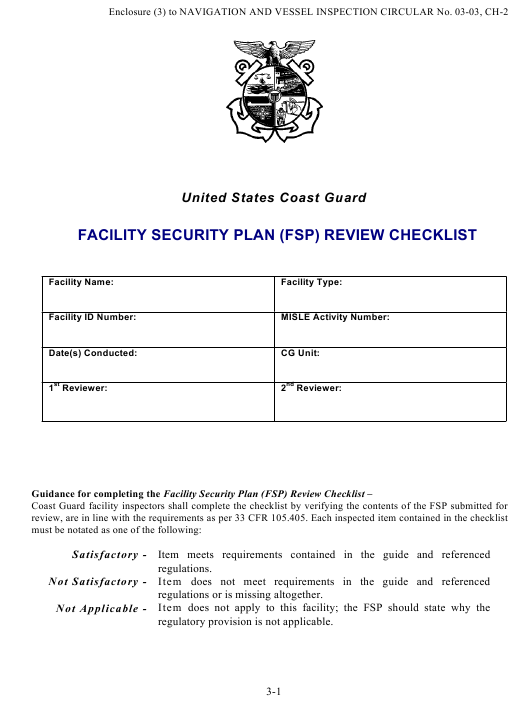 Facility Security Plan Fsp Review Checklist Page 25 Download Pdf