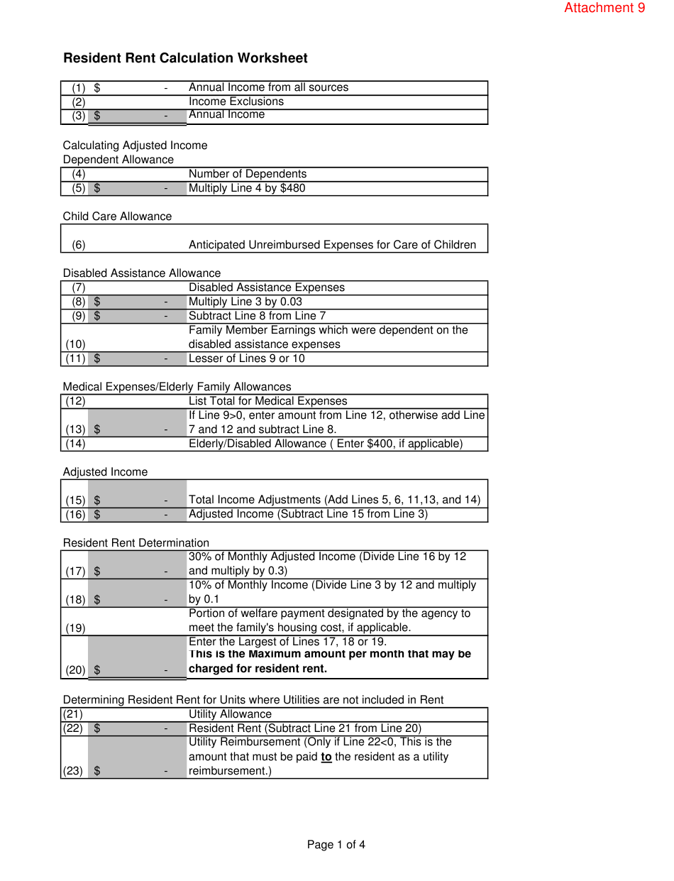 Attachment 9 Download Printable Pdf Or Fill Online Resident Rent Calculation Worksheet Arizona Templateroller