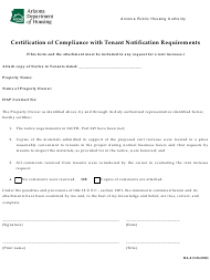 "Form RA-8 ""Certification of Compliance With Tenant Notification Requirements"" - Arizona"