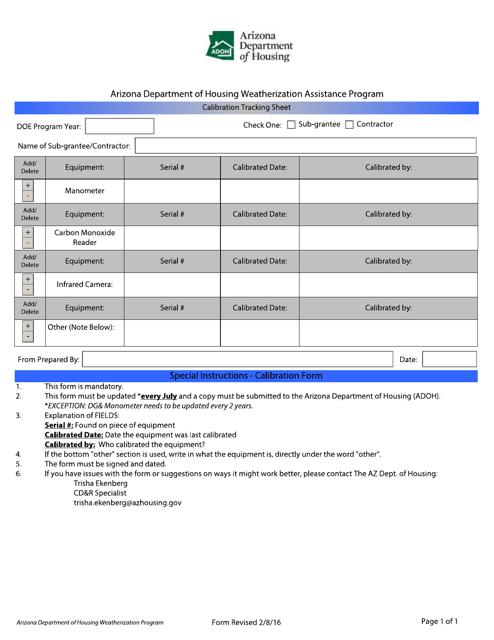 """Calibration Tracking Sheet"" - Arizona Download Pdf"