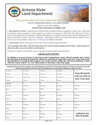 """State Land Recreational Use Group Permit Form"" - Arizona"
