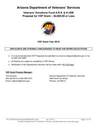 2018 Proposal for Vdf Grant - $4,999.99 or Less - Arizona