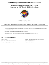 """Proposal for Vdf Grant - $4,999.99 or Less"" - Arizona, 2018"