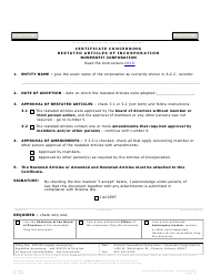 Form C 013 Certificate Concerning Restated Articles of Incorporation Nonprofit Corporation - Arizona