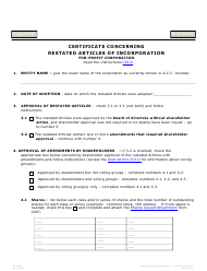 """Form C012.002 """"Certificate Concerning Restated Articles of Incorporation for-Profit Corporation"""" - Arizona"""