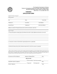 Variance Application Form - Arizona