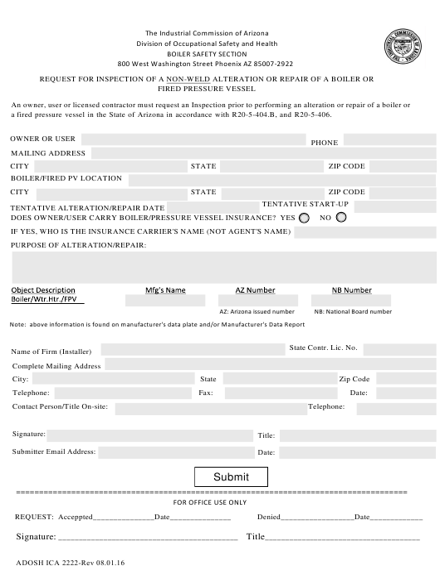 Form ADOSH ICA 2222 Fillable Pdf