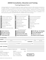Form ADOSH ICA 2218 Training Request Form - Arizona