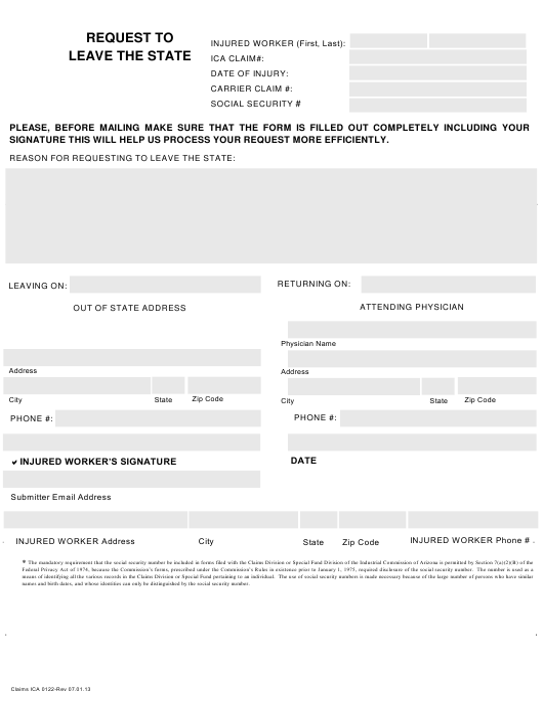 Form Claims ICA0122  Printable Pdf