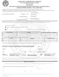 Form Claims ICA 0528 Petition to Reopen Based on New, Additional or Previously Undiscovered Disability or Condition - Arizona