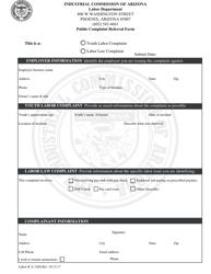 Form Labor ICA 3304 Public Complaint Referral Form - Arizona