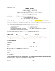 "Form 1064 ""Application for Facility License"" - Arkansas"