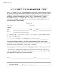Form DP-61 Application for 2,4-d Hardship Permit - Arkansas