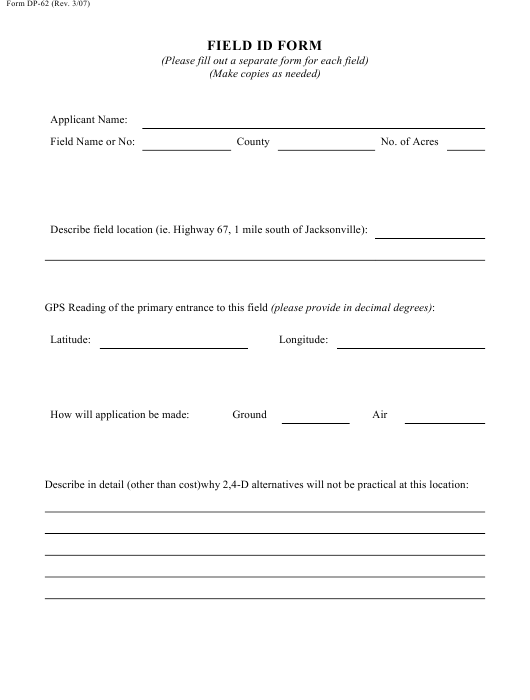 Form DP-62 Download Printable PDF, Field Id Form Arkansas
