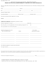 """Form DP-44A """"Proof of Financial Responsibility Certificate Using Insurance"""" - Arkansas"""