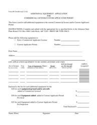 "Form DP-29A ""Additional Equipment Application for Commercial License/Custom Applicator Permit"" - Arkansas"