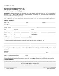 "Form DP-28 ""Application for a Commercial Applicator Technician License"" - Arkansas"