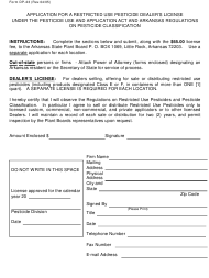 """Form DP-23 """"Application for a Restricted Use Pesticide Dealer's License Under the Pesticide Use and Application Act and Arkansas Regulations on Pesticide Classification"""" - Arkansas"""