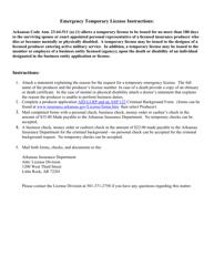 "Instructions for ""Emergency Temporary License"" - Arkansas"