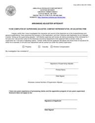 """Form AID-LI-ADJ-AFF """"Arkansas Adjuster Affidavit"""" - Arkansas"""