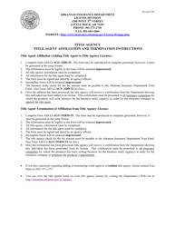 "Instructions for Form AID-LI-AGY-ADD-TI, AID-LI-AGY-TERM-TI ""Title Agent Affiliation and Termination"" - Arkansas"