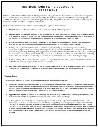 """Disclosure Statement Form"" - Arkansas"