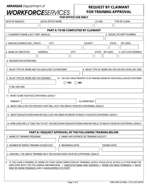 Form DWS-ARK-233  Printable Pdf