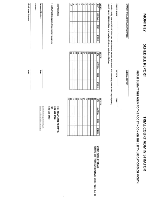 """""""Monthly Schedule Report Form - Trial Court Administrator"""" - Arkansas Download Pdf"""