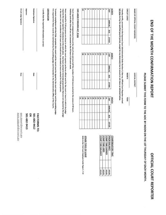 """End of the Month Confirmation Report Form - Official Court Reporter"" - Arkansas Download Pdf"