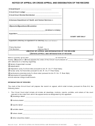 "Form 1 ""Notice of Appeal or Cross Appeal and Designation of the Record"" - Arkansas"