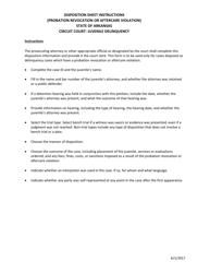 """Juvenile Delinquency Disposition Sheet Instructions (Probation Revocation or Aftercare Violation)"" - Arkansas"