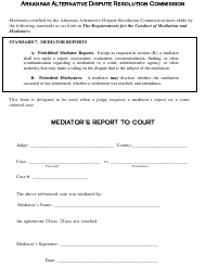 """Mediator's Report to Court"" - Arkansas"