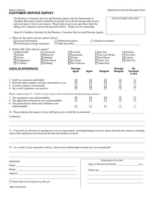 Form ABC-74  Printable Pdf