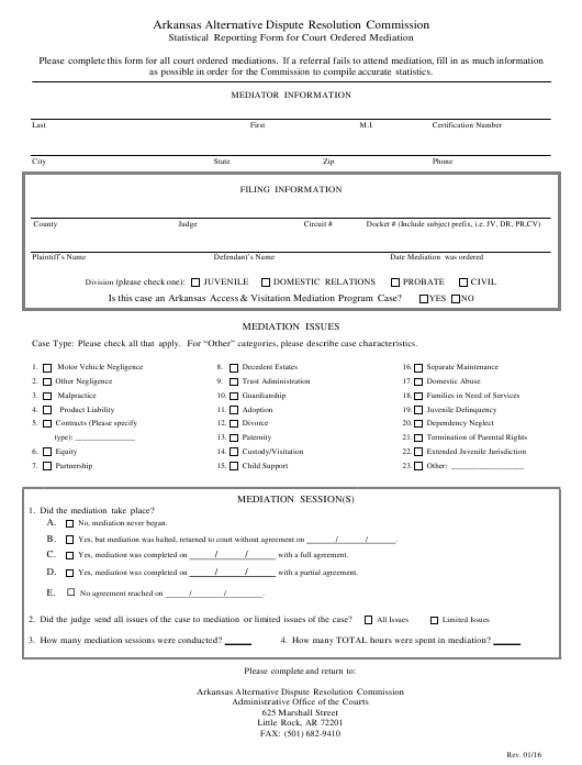 """Statistical Reporting Form for Court Ordered Mediation"" - Arkansas Download Pdf"