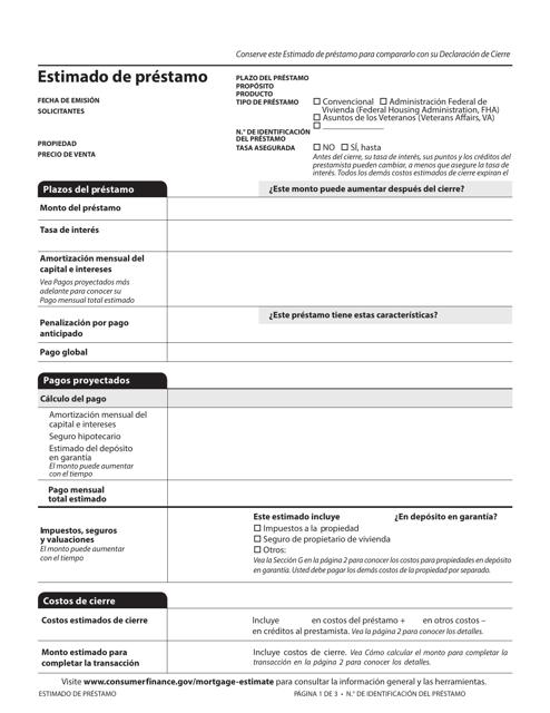 Formulario CFPB  Printable Pdf
