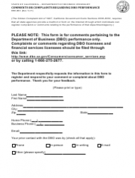 Form DBO-803 Comments or Complaints Regarding Dbo Performance - California