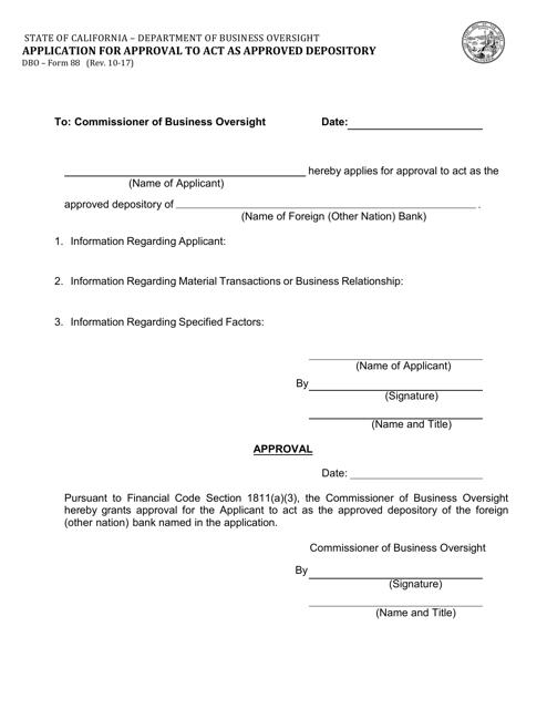 Form DBO-88  Printable Pdf