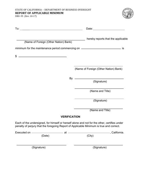Form DBO-95  Printable Pdf