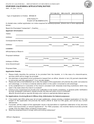 Form DBO-25 Uniform California Application/Notice - California