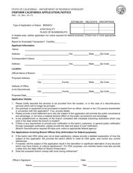 Form DBO-25 Uniform California Application/Notice - California