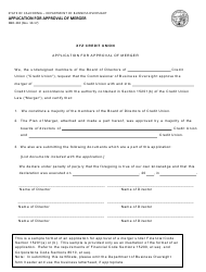 Form DBO-310 Application for Approval of Merger - California