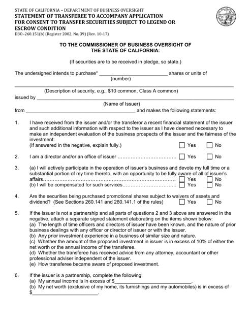Form DBO-260.151(B)  Printable Pdf