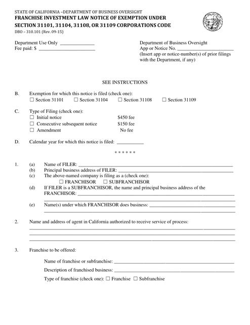 Form DBO-310.101  Printable Pdf