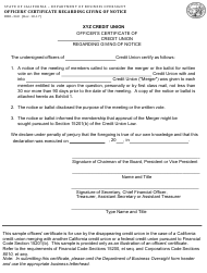 Form DBO-340 Officers' Certificate Regarding Giving of Notice - Credit Unions - California