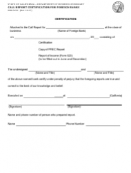 Form DBO-523C Call Report Certification for Foreign Banks - California