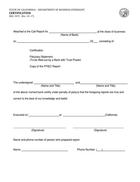Form DBO-507C  Printable Pdf