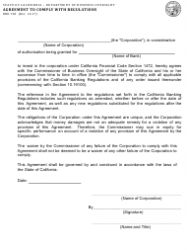 Form DBO-704 Agreement to Comply With Regulations - California